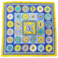 Hermès Silk Scarf Gavroche Pocket Square Belles du Mexique Jamin Yellow Blue 16'
