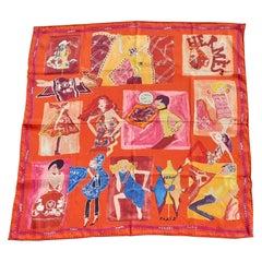 Hermès Silk Scarf J'aime Mon Carré Orange Yellow Pink 70 cm