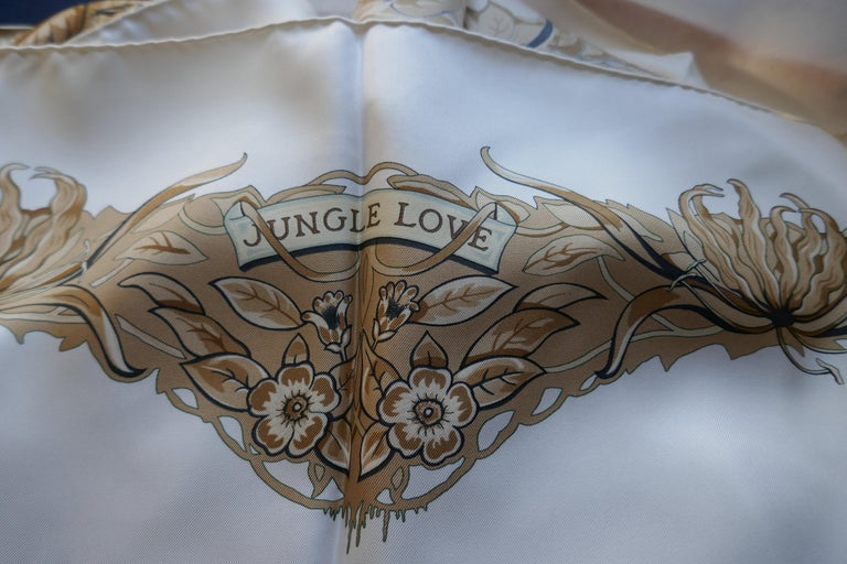 "Women's Hermes Silk Scarf "" JUNGLE LOVE"" Design by Robert Dallet For Sale"
