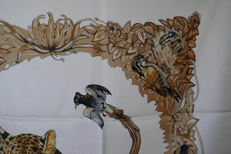 "Hermes Silk Scarf "" JUNGLE LOVE"" Design by Robert Dallet For Sale 2"