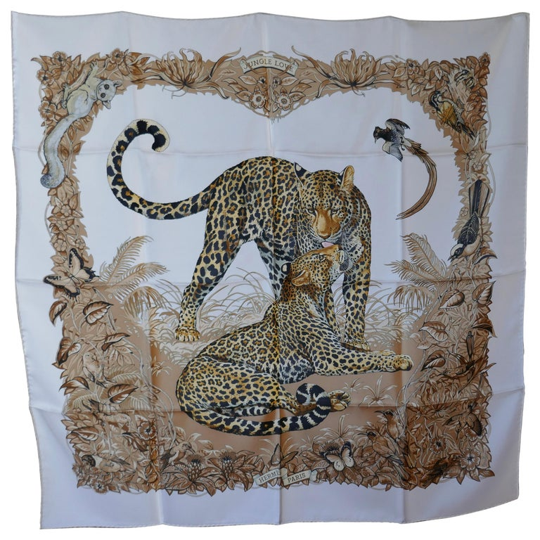 "Hermes Silk Scarf "" JUNGLE LOVE"" Design by Robert Dallet For Sale"
