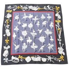 Hermès Silk Scarf La Danse Jean Louis Clerc Black Grey 90 cm