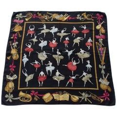 Hermès Silk Scarf La Danse Jean Louis Clerc Black White Red 90 cm GRAIL