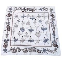 Hermès Silk Scarf La Danse Jean Louis Clerc White Etoupe Grey 90 cm GRAIL