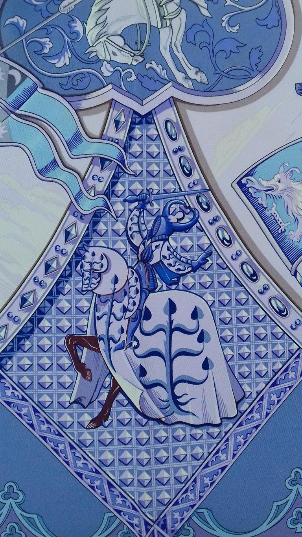 Hermès Silk Scarf La Vie à Cheval Bourthoumieux Purple 90 cm For Sale 5