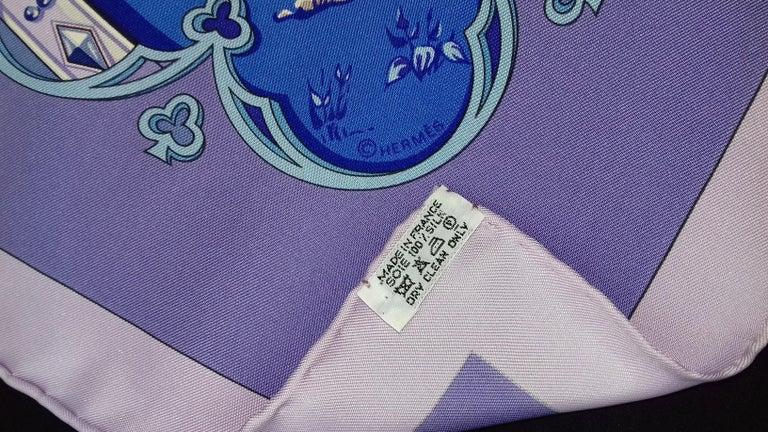 Hermès Silk Scarf La Vie à Cheval Bourthoumieux Purple 90 cm For Sale 9