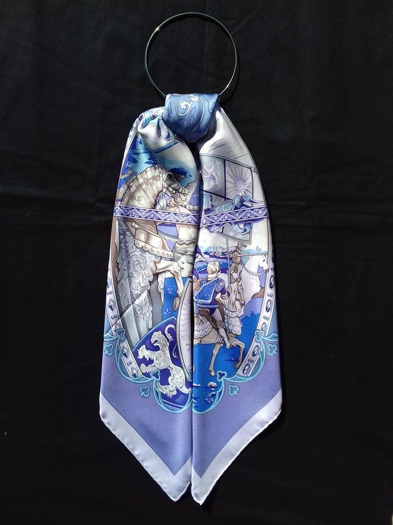 Hermès Silk Scarf La Vie à Cheval Bourthoumieux Purple 90 cm For Sale 11