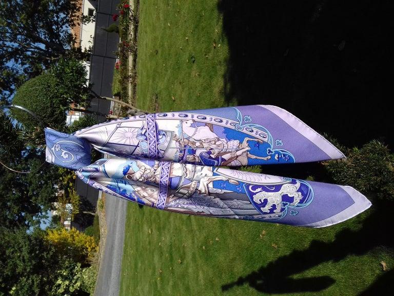 Hermès Silk Scarf La Vie à Cheval Bourthoumieux Purple 90 cm For Sale 12