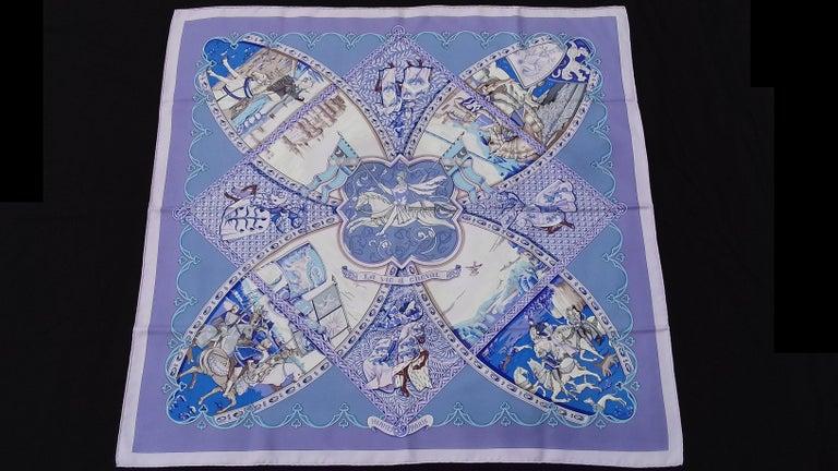 Hermès Silk Scarf La Vie à Cheval Bourthoumieux Purple 90 cm For Sale 13