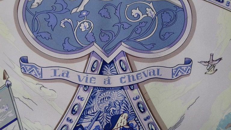 Brown Hermès Silk Scarf La Vie à Cheval Bourthoumieux Purple 90 cm For Sale