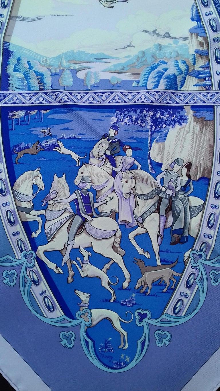 Women's Hermès Silk Scarf La Vie à Cheval Bourthoumieux Purple 90 cm For Sale