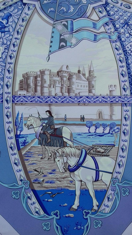 Hermès Silk Scarf La Vie à Cheval Bourthoumieux Purple 90 cm For Sale 4