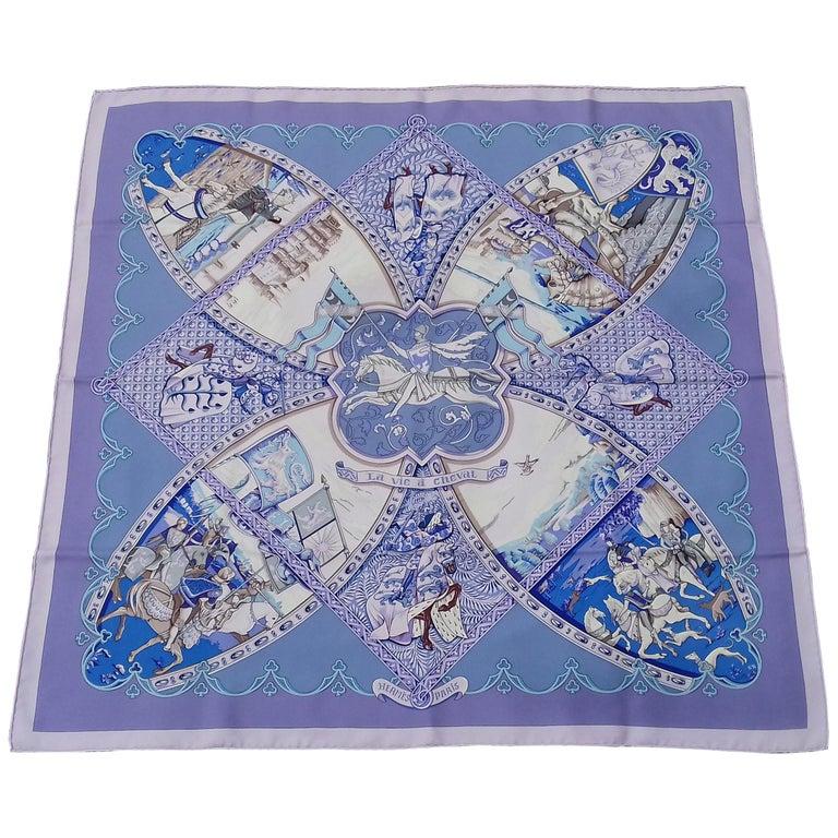 Hermès Silk Scarf La Vie à Cheval Bourthoumieux Purple 90 cm For Sale