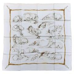 Hermès Silk Scarf Les Lévrier Greyhound Dogs Xavier de Poret White Gold 90 cm