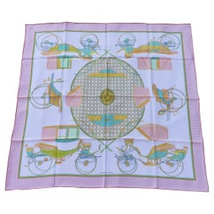 Hermès Silk Scarf Les Voitures à Transfomation Pink Green 90 cm