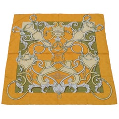 Hermès Silk Scarf L'Instruction Du Roy Henri d'Origny Orange Damask 35 inches
