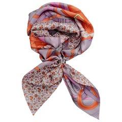Hermès Silk Scarf Maxi Twilly Cut Grand Manege Fleuri Pink Purple