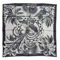 Hermès Silk Scarf Mythiques Phoenix Tattoo Black Blue White 70 cm