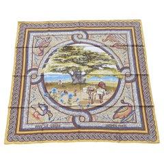 Hermès Silk Scarf Sous Le Cèdre Dimitri Rybaltchenko Mosaic Ocher 90 cm RARE