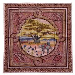 Hermès Silk Scarf Sous Le Cèdre Dimitri Rybaltchenko Mosaic Pink 35 inches