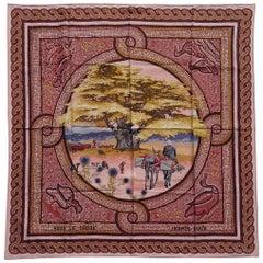 Hermès Silk Scarf Sous Le Cèdre Dimitri Rybaltchenko Mosaic Pink 90 cm RARE