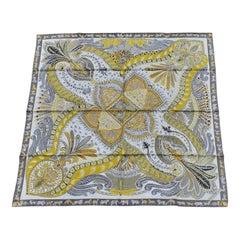 Hermès Silk Scarf Sous Le Jardin de la Maharani White Yellow Grey 90 cm