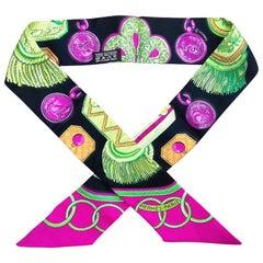 Hermès Silk Scarf Twilly Epaulettes Latham Black Green Pink 85 cm