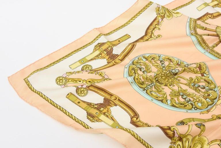 Beige Hermes Silk Scarf Vintage For Sale