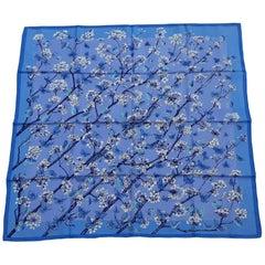 Hermès Silk Scarf Vol Amoureux des Azurés Butterflies Blue Toutsy 90 cm