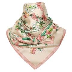 Hermès Silk Scarf Vol Amoureux des Azurés Butterflies Soft Pink 90 cm