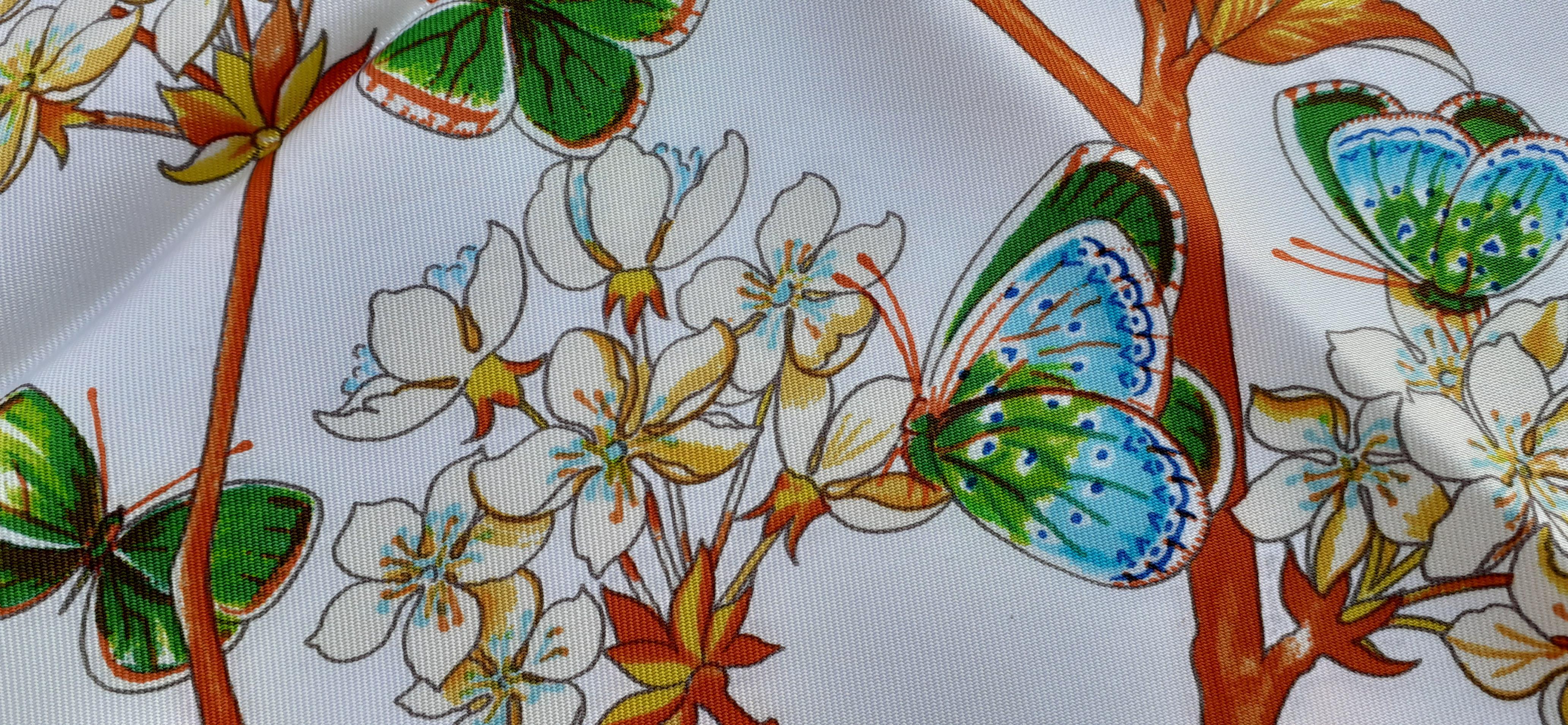 dames foulard en turquoise vert ros/é gris avec papillon motif tissu taille 90 x 90 cm