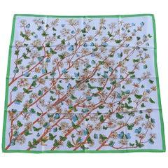 Hermès Silk Scarf Vol Amoureux des Azurés Butterflies White Green Toutsy 90 cm