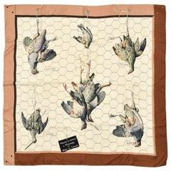 "Hermès Silk Square Pink and kaki Scarf ""Leaves"""