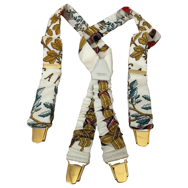 "Hermes Silk Suspenders ""Republique Francaise Liberte Egalite Fraternite"" w/Box"
