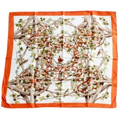 Hermes  Silk Twill Scarf  by Francoise Heron Sous-Bois 90cm in Box