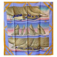 """Hermes Silk Yachting Scarf """"Raffles"""" by  Yannick Manier 1988"""