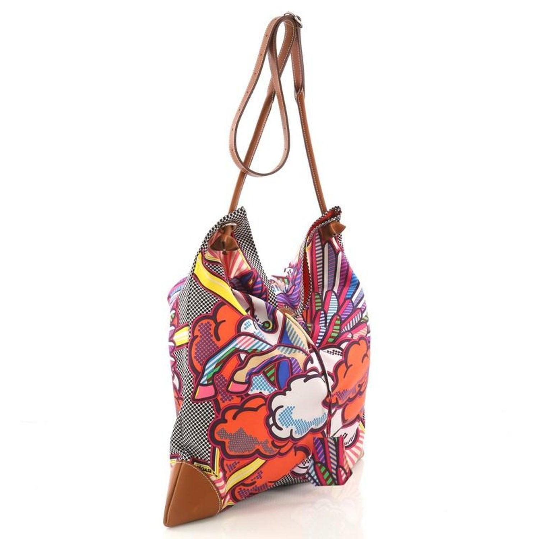 989e0b8b6d5d Hermes Silky City Handbag Printed Silk and Leather GM at 1stdibs