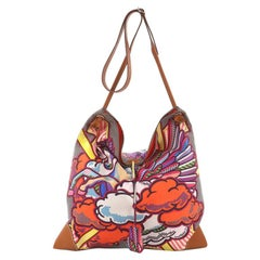 Hermes Silky City Handbag Printed Silk and Leather GM