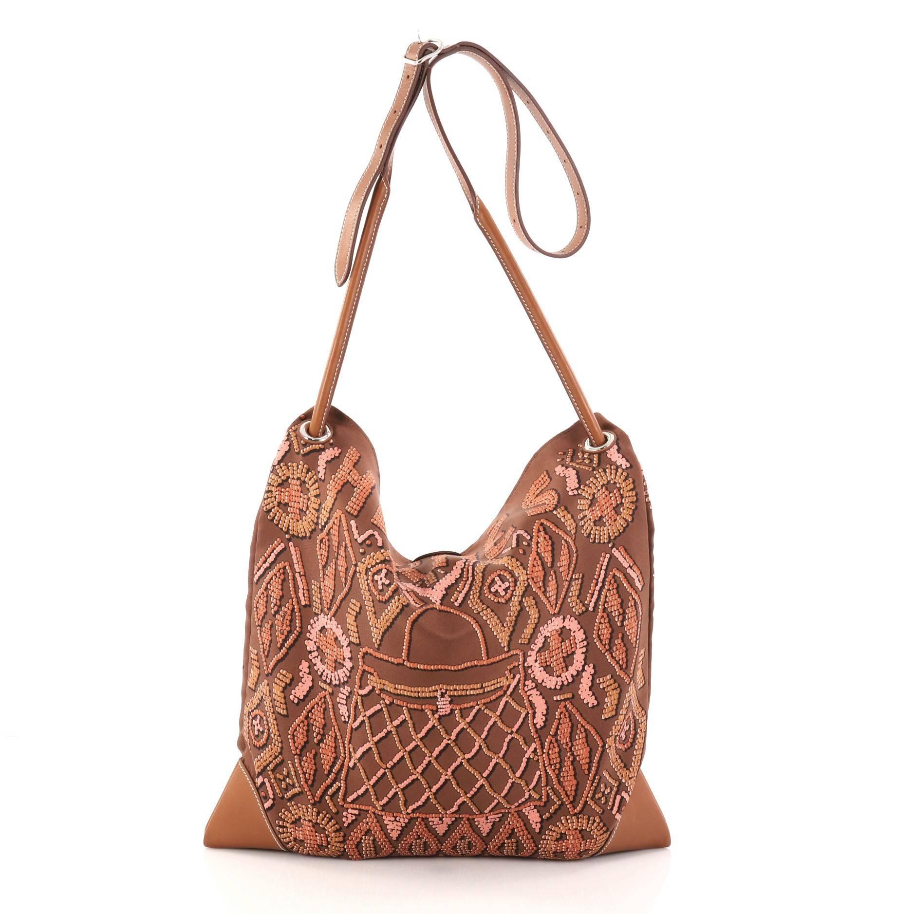 1943ee14a5c3 Hermes Silky City Handbag Printed Silk and Leather PM at 1stdibs