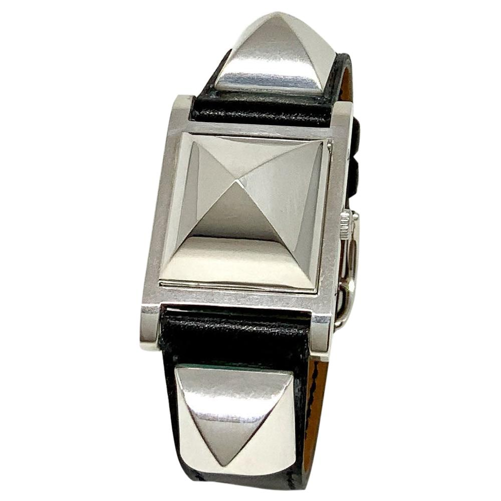 Hermès Silver and Stainless Steel Medor Watch