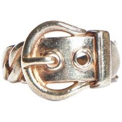 Hermès Silver Buckle Vintage Ring Size 7