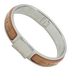 Hermes Silver & Pink Clic Clac Bracelet