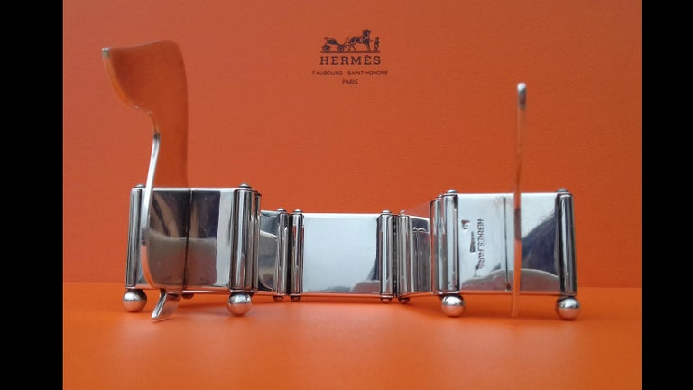 Hermès Silver Plated Dachshund Shaped Photos Frame Holder Vintage RARE 12