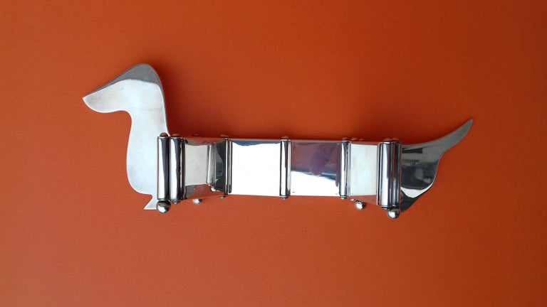 Women's or Men's Hermès Silver Plated Dachshund Shaped Photos Frame Holder Vintage RARE