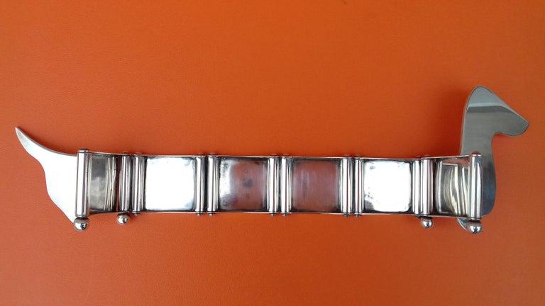 Hermès Silver Plated Dachshund Shaped Photos Frame Holder Vintage RARE 4