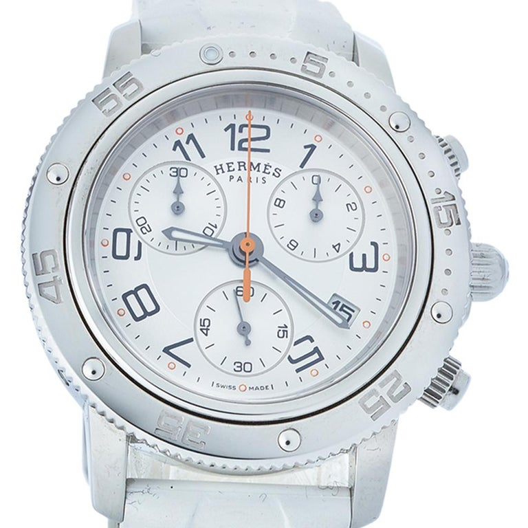 Contemporary Hermes Silver Rubber Clipper Chronograph CP2.410 Unisex Wristwatch 36 mm
