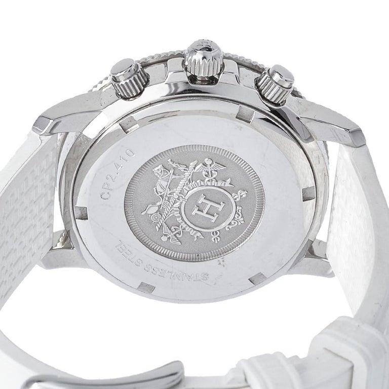 Women's Hermes Silver Rubber Clipper Chronograph CP2.410 Unisex Wristwatch 36 mm