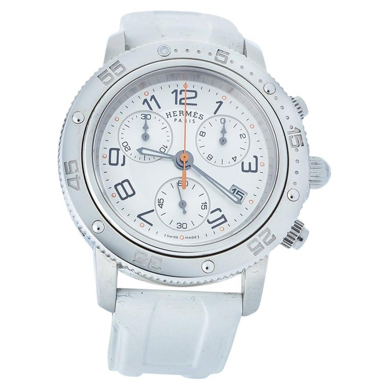 Hermes Silver Rubber Clipper Chronograph CP2.410 Unisex Wristwatch 36 mm