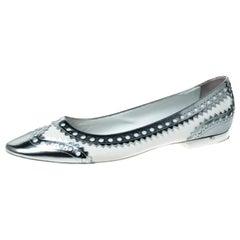 Hermès Silver/White Brogue Leather Ballet Flats Size 41