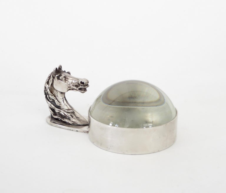 Hermes French silver plate equestrian horse motif desk magnifier. Also can be used as a paperweight or simply as a wonderful accessory, circa 1970. Excellent condition with stamps of Hermes, Paris.